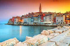 Amazing sunset with colorful sky, Rovinj, Istria region, Croatia, Europe Stock Image