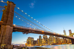 Amazing sunset colors over Brooklyn Bridge in New York Royalty Free Stock Photography