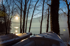 Amazing sunset in Dorio. Como lake.  - Como lake. Large view of the Alps Stock Photo