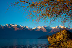Amazing sunset in Dorio. Como lake.  - Como lake. Large view of the Alps Royalty Free Stock Images
