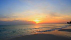 Amazing sunset on Eagle Beach of Aruba Island. Caribbean. Beautiful nature background stock footage