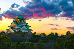 Amazing sunset Image of Osaka Castle. Beautiful Sunset Image of Osaka Castle in Osaka, Japan stock photos