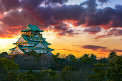 Amazing sunset Image of Osaka Castle. Beautiful Sunset Image of Osaka Castle in Osaka, Japan stock image