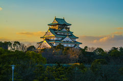 Amazing sunset Image of Osaka Castle Stock Photo