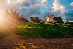 Amazing sunset at the Kauai beach. Amazing and breath taking sunset at the Kauai beach on Hawaii Royalty Free Stock Image