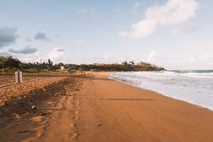 Amazing sunset at the Kauai beach. On Hawaii Royalty Free Stock Photo