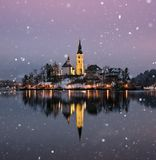 Amazing sunset at the lake Bled in winter, Slovenia. Amazing sunset at the lake Bled in winter, Slovenia, Europe Royalty Free Stock Image