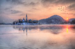 Amazing sunset at the lake Bled in winter, Slovenia. Amazing sunset at the lake Bled in winter, Slovenia, Europe Royalty Free Stock Images