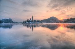 Amazing sunset at the lake Bled in winter, Slovenia. Amazing sunset at the lake Bled in winter, Slovenia, Europe Stock Images