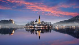 Amazing sunset at the lake Bled in winter, Slovenia. Amazing sunset at the lake Bled in winter, Slovenia, Europe Royalty Free Stock Photo