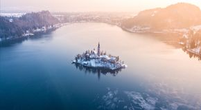 Amazing sunset at the lake Bled in winter, Slovenia. Amazing sunset at the lake Bled in winter, Slovenia, Europe Stock Photography