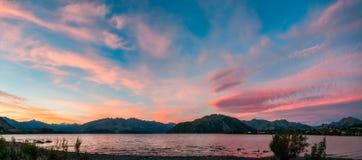 Amazing sunset at lake Wanaka Panorama. Amazing sunset at lake Wanaka from the top of Beacon Point Recreational Reserve. Wanaka is a popular ski and summer Royalty Free Stock Photos