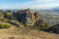 Amazing Sunset Landscape of Holy Monastery of St. Stephen in Meteora, Greece Royalty Free Stock Photography
