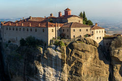 Amazing Sunset Landscape of Holy Monastery of St. Stephen in Meteora, Greece Stock Photo