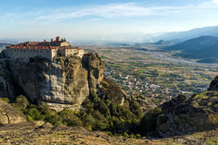 Amazing Sunset Landscape of Holy Monastery of St. Stephen in Meteora, Greece Royalty Free Stock Image