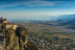 Amazing Sunset Landscape of Holy Monastery of St. Stephen in Meteora, Greece Royalty Free Stock Photo