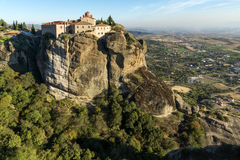 Amazing Sunset Landscape of Holy Monastery of St. Stephen in Meteora, Greece Stock Photography