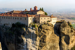 Amazing Sunset Landscape of Holy Monastery of St. Stephen in Meteora, Greece Stock Image
