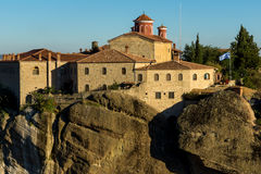 Amazing Sunset Landscape of Holy Monastery of St. Stephen in Meteora, Greece Stock Photos
