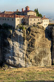 Amazing Sunset Landscape of Holy Monastery of St. Stephen in Meteora, Greece Royalty Free Stock Images