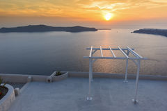 Amazing Sunset landscape in town of imerovigli, Santorini island, Thira, Greece Royalty Free Stock Photography