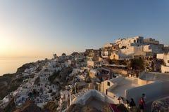 Amazing sunset Landscape in town of Oia, Santorini island, Thira, Greece Royalty Free Stock Photos