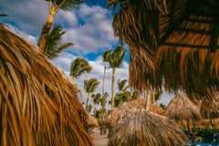 Free Amazing Sunset Light On Punta Cana Beach With Lounge Chairs, Umbrellas And Palms. Stock Photography - 158894712
