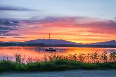 Amazing sunset at Loch Linnhe with Shuna Island and Ardnamurchan in background, Argyll. Scotland Royalty Free Stock Image