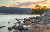 Amazing sunset at Mirabello Bay on Crete Royalty Free Stock Photos