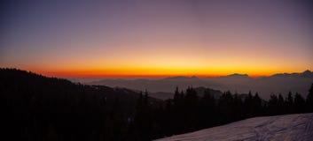 Amazing sunset at Monte Pora ski area in winter season. Landscape to the Italian Alps royalty free stock photos