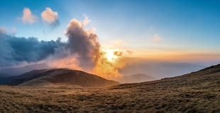 Amazing sunset in mountains Royalty Free Stock Images