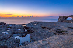 Amazing Sunset near Azure Window, Gozo Island, Malta. Horizontal View Royalty Free Stock Images