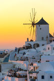 Amazing Sunset in Oia in Santorini, Greece Royalty Free Stock Photo
