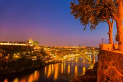 Amazing sunset in old town Porto Portugal. Famous Portuguese cityscape of Porto Old Town Douro River and famous The Luis Bridge Portugal stock images