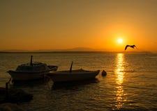 Amazing sunset over the beach Stock Image