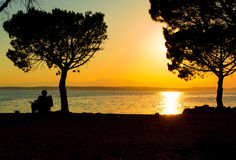 Amazing sunset over the beach Royalty Free Stock Photography