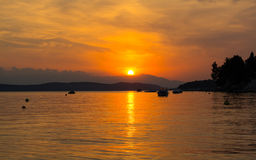 Amazing sunset over the beach Royalty Free Stock Images