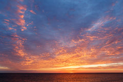 Amazing sunset over the Black sea.Beautiful cloudscape over the sea Stock Photography