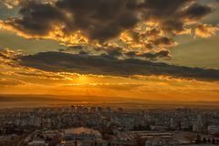 Amazing sunset over the city Royalty Free Stock Photography