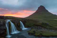 Amazing sunset over Kirkjufell volcano with pink. stock photos