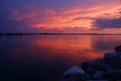 Amazing sunset over the lake. royalty free stock photos