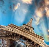 Amazing sunset over magnificent Eiffel Tower, Paris - France Stock Photos