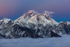 Amazing sunset over mount Everest summit with. Royalty Free Stock Images