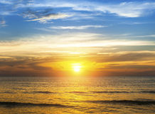 Amazing sunset over the ocean beach. Travel. Amazing sunset over the ocean beach Royalty Free Stock Images