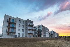 Amazing sunset over residential area. In Poland royalty free stock image