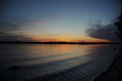 Amazing sunset over the river Volga royalty free stock images