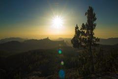 Amazing sunset over Roque Nublo Stock Photography