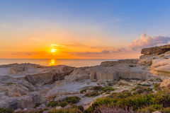 Amazing Sunset over the Sea near Azure Window, Malta, Horizontal View. Amazing Sunset over the Sea near Azure Window, Malta Stock Photos