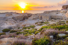 Amazing Sunset over the Sea near Azure Window, Malta, Horizontal View. Amazing Sunset over the Sea near Azure Window, Malta Stock Images