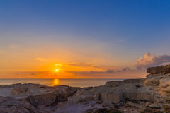 Amazing Sunset over the Sea near Azure Window, Malta, Horizontal View. Amazing Sunset over the Sea near Azure Window, Malta Royalty Free Stock Images